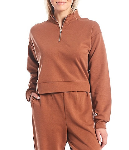 Gianni Bini Lia Long Sleeve Quarter Zip Cropped Sweatshirt