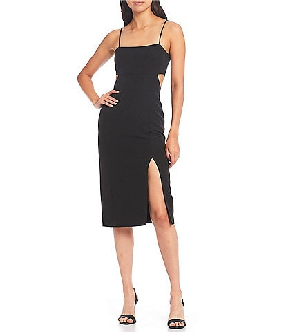 Gianni Bini Lillian Square Neck Sleeveless Cutout Crepe Midi Dress