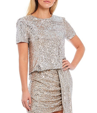 Gianni Bini Lily Sequin Short Sleeve Blouse