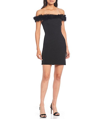Gianni Bini Lola Off-The-Shoulder Feather Trim Crepe Sheath Dress