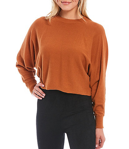 Gianni Bini Long Sleeve Batwing Cropped Slouchy Sweater