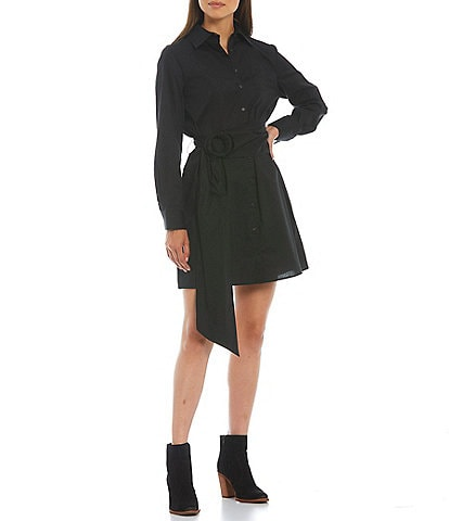 Gianni Bini Long Sleeve Button-Down Collar Neck Belted Connie Poplin Shirt Dress
