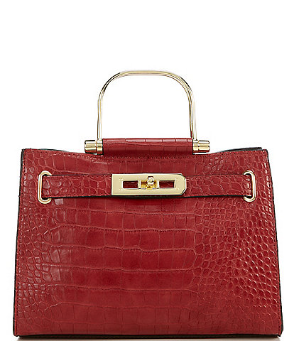 Gianni Bini Lux Croco-Embossed Satchel Bag