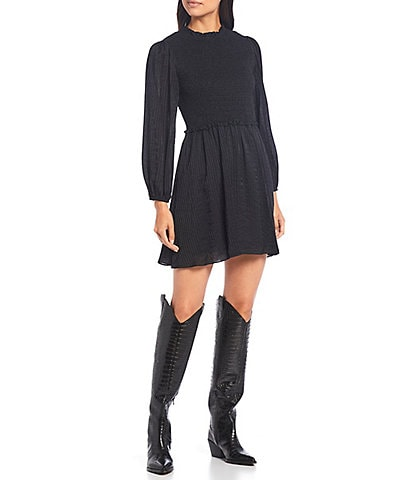 Gianni Bini Madison Smocked Long Sleeve Mini Dress