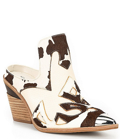 Gianni Bini Maerren Calf Hair Cow Print Pieced Western Mules
