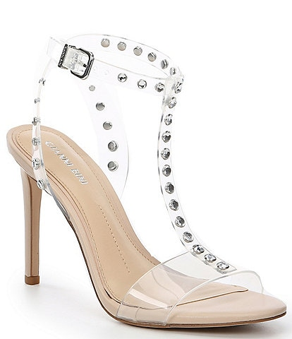 Gianni Bini Maezee Clear Jeweled T-Strap Stiletto Sandals