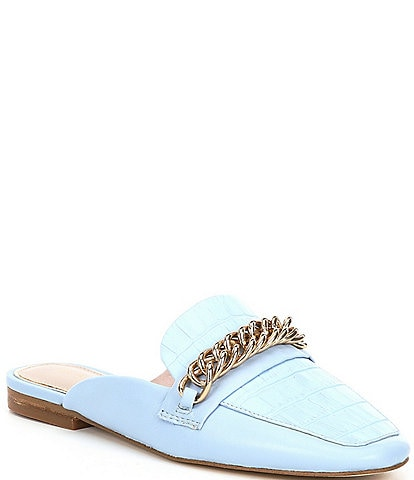 Gianni Bini Magley Croco Stamped Leather Chain Detail Mule Loafers