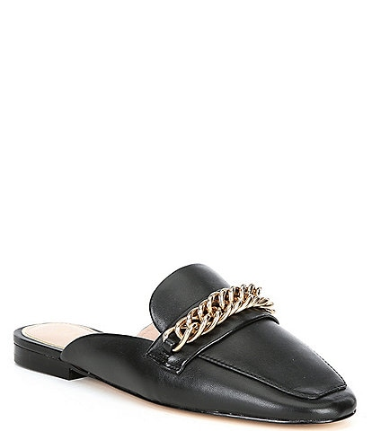 Gianni Bini Magley Leather Chain Detail Mule Loafers