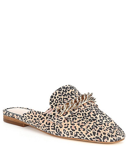 Gianni Bini Magley Leopard Print Suede Chain Detail Mule Loafers
