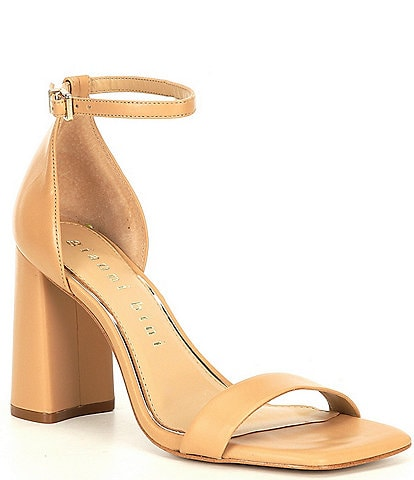 Gianni Bini Maileigh Leather Square Toe Block Heel Dress Sandals