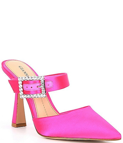 Gianni Bini Maleenah Satin Jeweled Buckle Mules