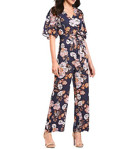 Gianni Bini Margie Short Sleeve Floral Print V-Neck Jumpsuit