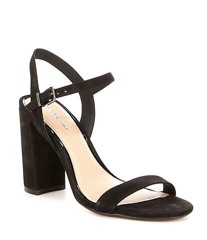 Gianni Bini Mckaria Nubuck Leather Block Heel Dress Sandals