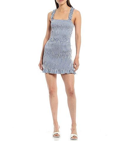 Gianni Bini Mia Smocked Gingham Square Neck Sleeveless Mini Dress