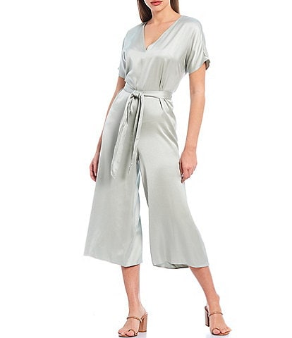 Gianni Bini Mimi Satin V-Neck Short Sleeve Tie Front Wide Leg Jumpsuit