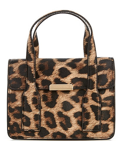 Gianni Bini Mini Leopard Print Flap Satchel Bag