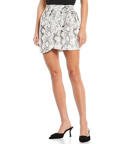 Gianni Bini Minnie Snake Print Satin Mini Skirt