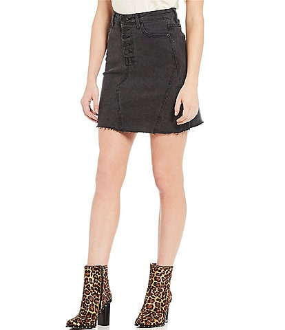 Gianni Bini Mischa Button Front Denim Skirt