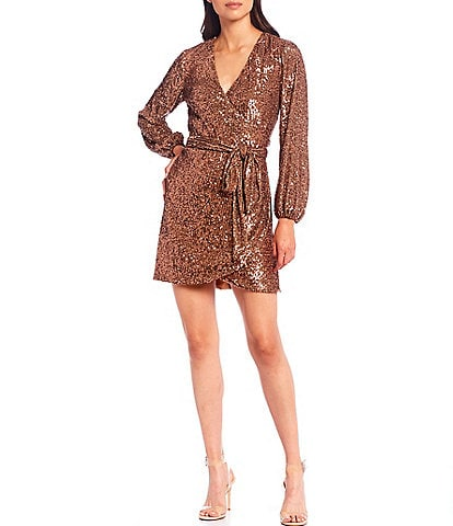 Gianni Bini Moor All Over Sequin Long Sleeve V-Neck Wrap Dress