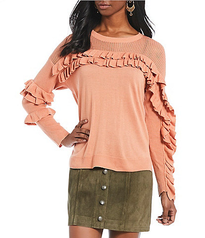 Gianni Bini Myra Tiered Victorian Ruffle Sleeve Peekaboo Yoke Crew Neck Sweater
