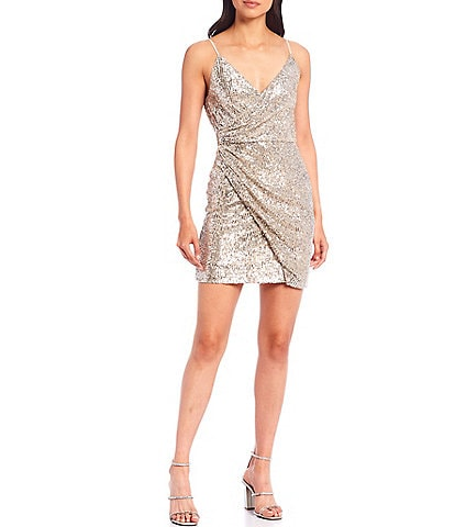 Gianni Bini Natalie V-Neck Spaghetti Strap Sequin Faux Wrap Dress