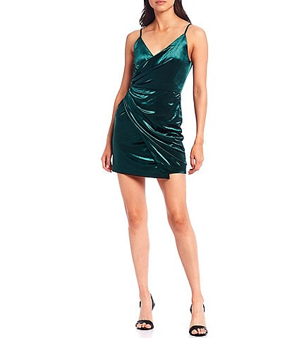 Gianni Bini Natalie V-Neck Spaghetti Strap Velvet Faux Wrap Dress
