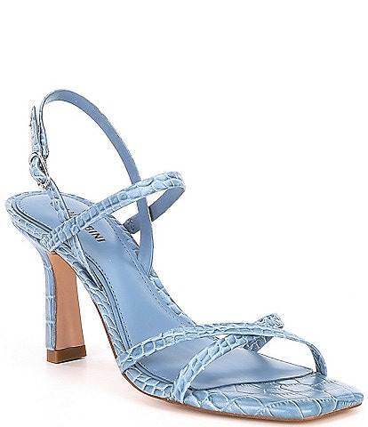 Gianni Bini Neveena Croc Embossed Leather Square Toe Strappy Sandals