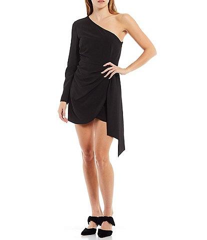 Gianni Bini Valerie One Shoulder Faux Wrap Tie Side Mini Dress