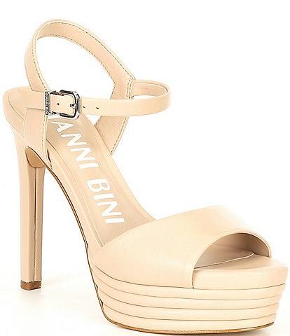 Gianni Bini Ophyliah Leather Stiletto Platform Dress Sandals