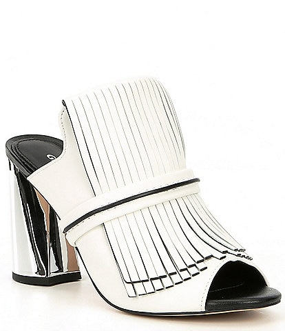Gianni Bini Paisleigh Leather Fringe Metallic Block Heel Mules