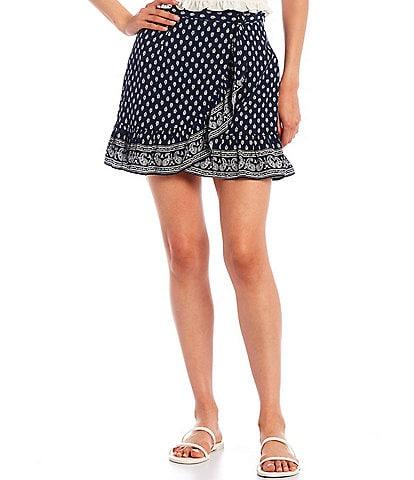 Gianni Bini Paloma High Rise Wrap Mini Skirt