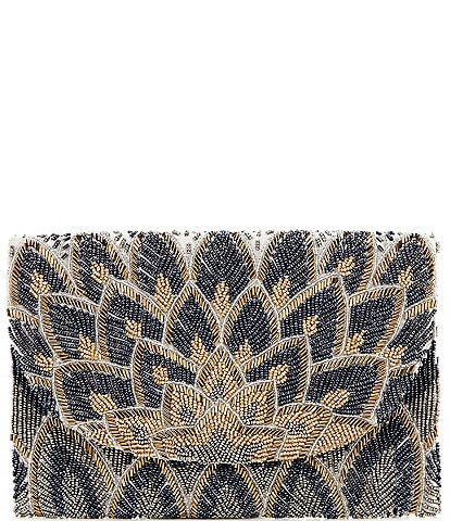 Gianni Bini Peacock Beaded Envelope Clutch