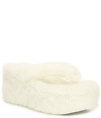 Gianni Bini Plushie Faux Fur Thong Wedges