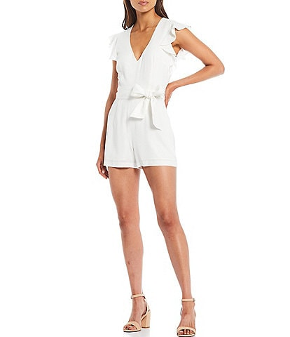 Gianni Bini Polly V-Neck Ruffle Sleeve Romper