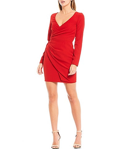 Gianni Bini Poppy V-Neck Long Sleeve Side Ruched Crepe Sheath Dress