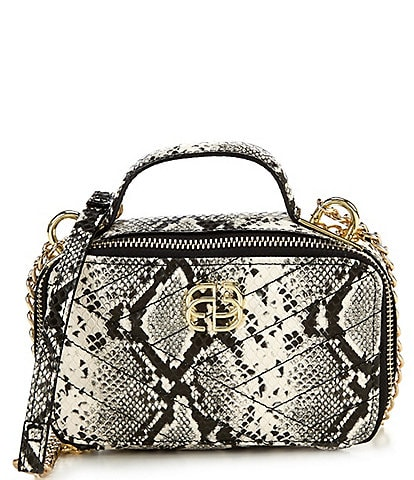 Gianni Bini Quilted Snake Print Zippered Crossbody Bag