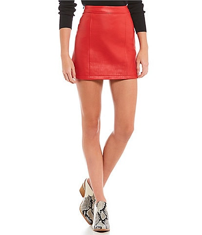 Gianni Bini Rachel Genuine Leather Mini Skirt