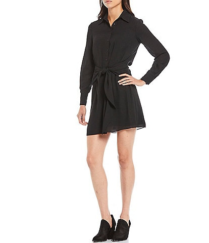 Gianni Bini Rae Long Sleeve Tie Waist Button Front Georgette Dress