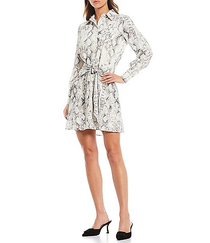 Gianni Bini Rae Snake Print Georgette Button Front Tie Waist Dress