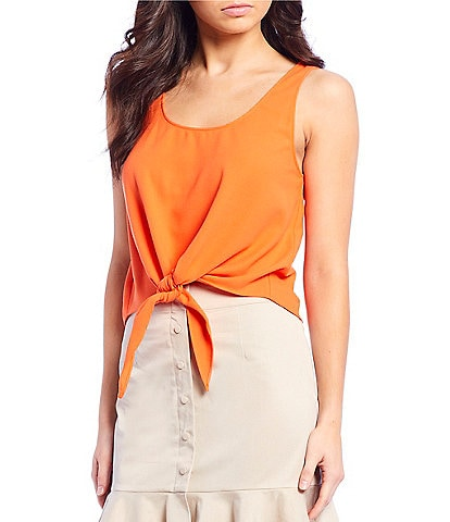 Gianni Bini Rebecca Crepe Sleeveless Scoop Neckline Asymmetrical Tie Front Crop Blouse