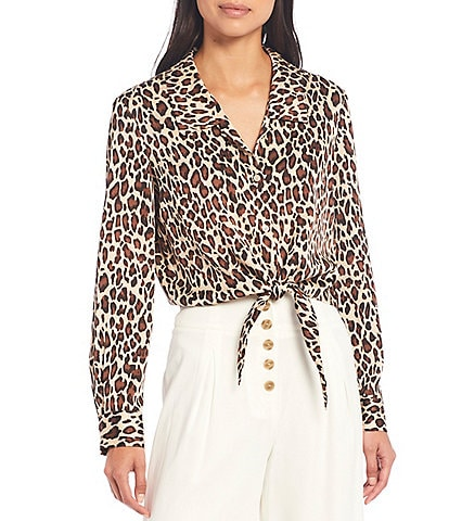 Gianni Bini Rebecca Leopard Print Satin Tie Hem Button Front Blouse