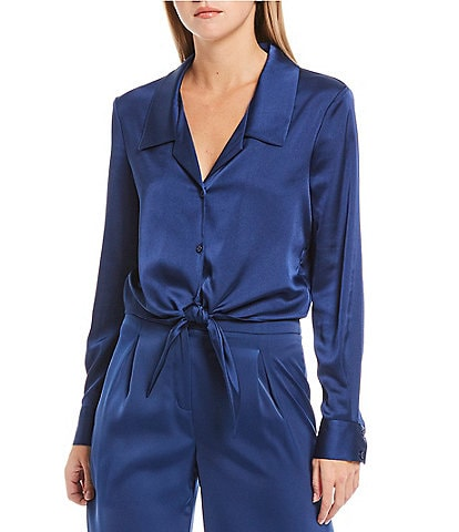 Gianni Bini Rebecca Satin Tie Button Front Blouse