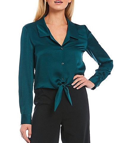 Gianni Bini Rebecca Satin Tie Hem Button Front Blouse