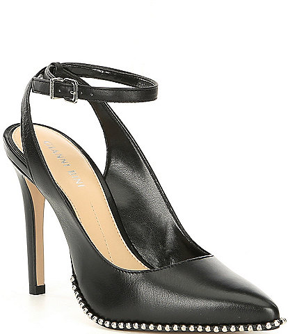 Gianni Bini Renatay Leather And Stud Detail Ankle-Strap Pumps