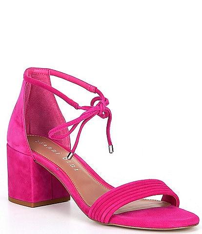 Gianni Bini Rhiaann Suede Ankle Tie Block Heel Sandals
