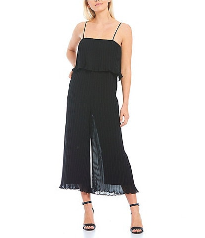Gianni Bini Riley Micro-Pleat Spaghetti Strap Wide Leg Cropped Jumpsuit