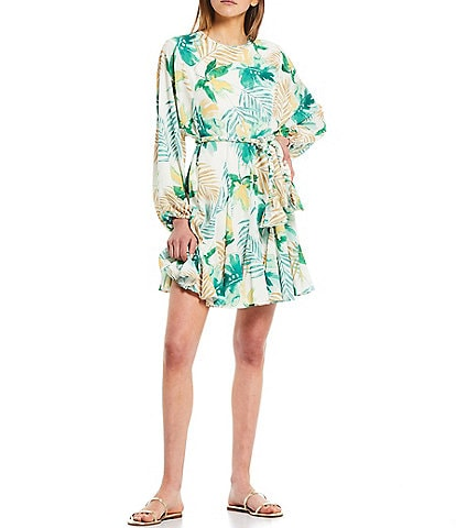 Gianni Bini Riley Palm Print Belted Long Sleeve Swing Dress