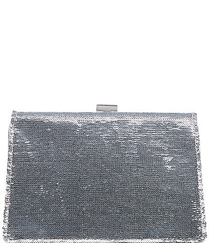 Gianni Bini Sequin Metal Mesh Frame Clutch Bag