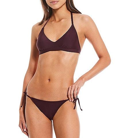 Gianni Bini Solid Halter Swim Top & Scoop Front Tie Side Swimsuit Bottom