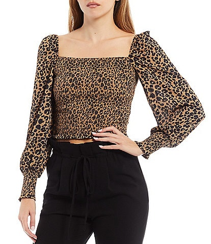 Gianni Bini Angel Square Neck Long Puff Sleeve Cropped Leopard Print Smocked Blouse